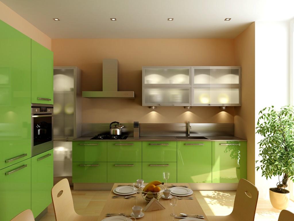 Заказать кухню  зеленый попугай