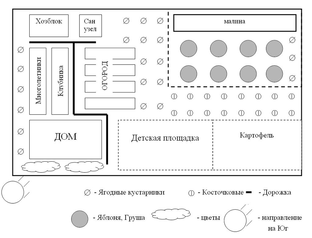 схема посадки садовых культур.